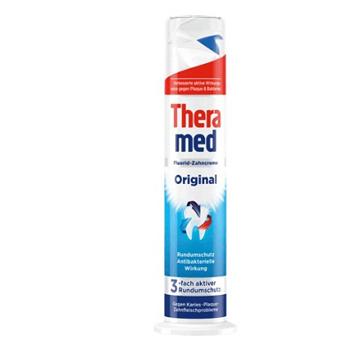 德国汉高牙膏施华蔻Theramed泰瑞美站立式牙膏按压式美白牙膏原装进口 组合红/蓝/白100ml*3