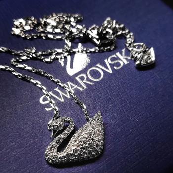 SWAROVSKI 施华洛世奇 天鹅 链坠 SWAN 镀白金色 锁骨链项链女 女友礼物 5007735